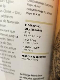 W ramach wspomnianej książki - 3 najważniejsze postacie katolicyzmu w 3 sekundy: Jezus, św. Piotr i Tomasz z Akwinu